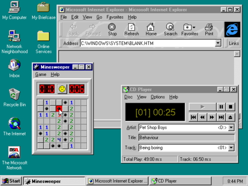 Windows 95 Screen I Always Had The Cd Player Going