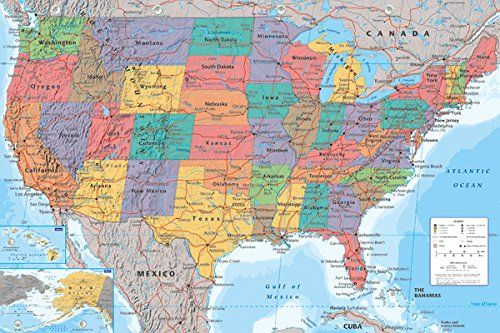 United States Usa Map Traditional Style Decorative Educational Poster Print 24 By 36 Click On The Image For Additional Usa Map Map Poster United States Map