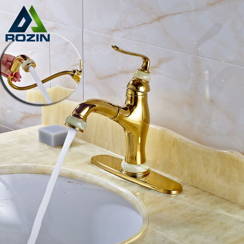 Free Shipping Gold Basin Faucets Pull Out Washing Hair Hot Cold ...