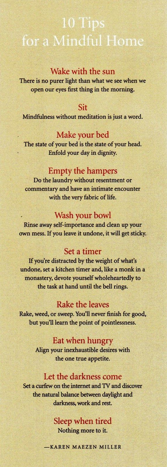 10 tips for a mindful home. My life would certainly