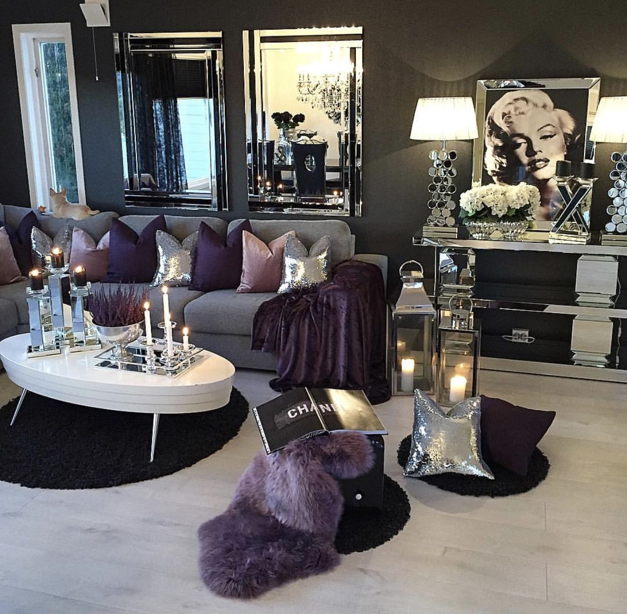 Light Wood Floors With Dark Wall Create A Bold Contrast Living Room Decor Apartment Purple Living Room Silver Living Room