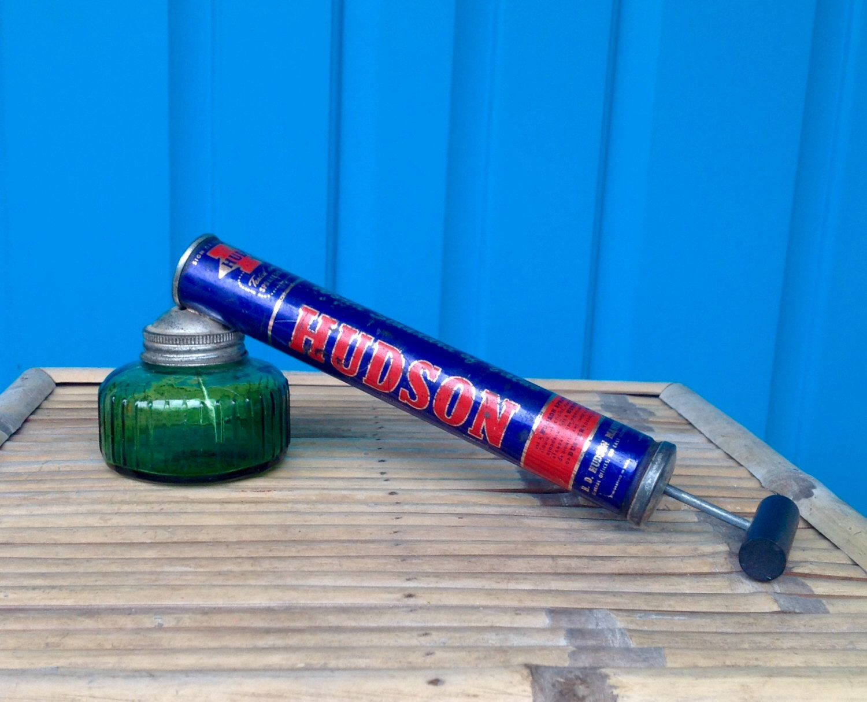 SALE FREE SHIPPING Vintage 1955 Hudson Garden Sprayer With Green Glass Jar  Hudson