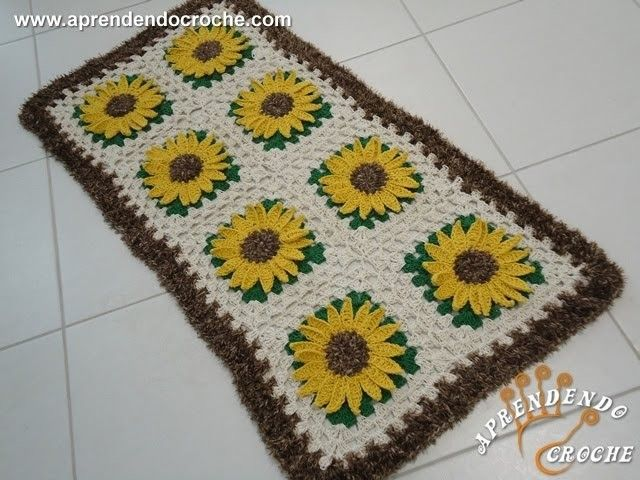Tapete de Croche Girassol Rei - 2º Parte - Aprendendo Crochê