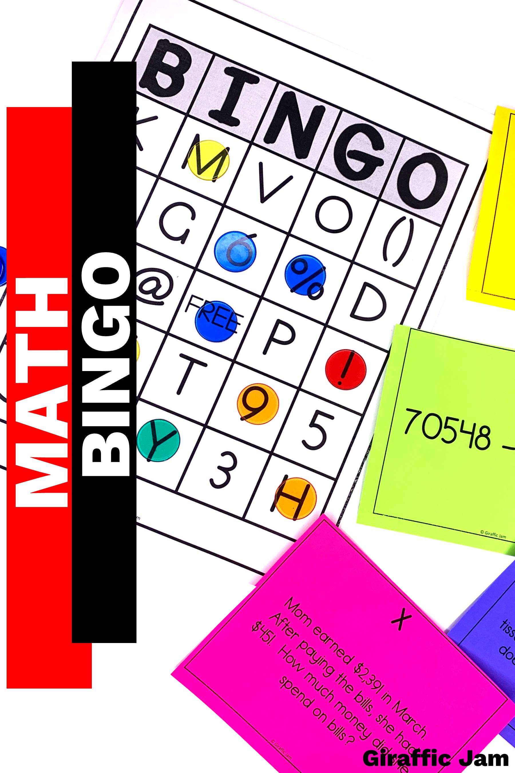 Subtraction Bingo Subtraction Word Problems