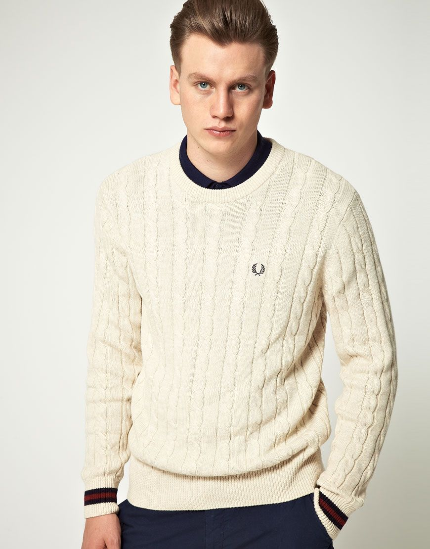 Fred Perry Menswear - Fred Perry Tipped Crew Neck Jumper Grey