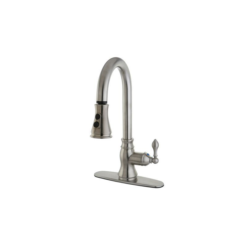 Kingston Brass GS777.ACL American Classic Pullout Spray Kitchen Faucet Satin Nickel Faucet Kitchen Single Handle