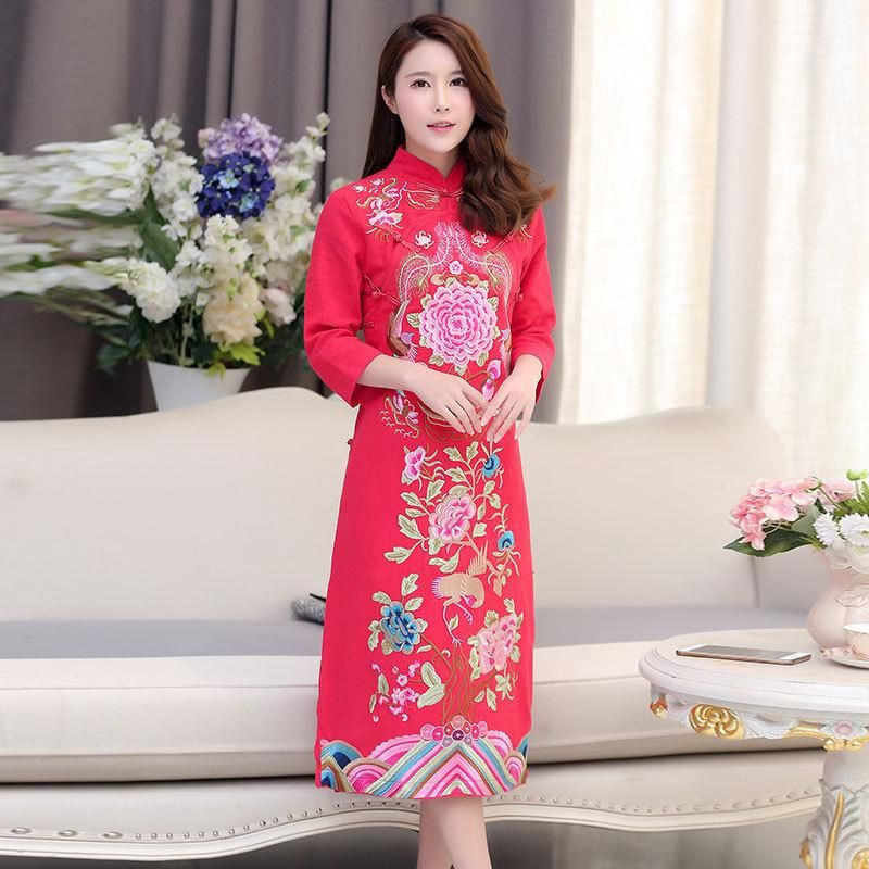 2018 Vietnam Ao Dai Dress Chinese Embroidered Plus Size ...