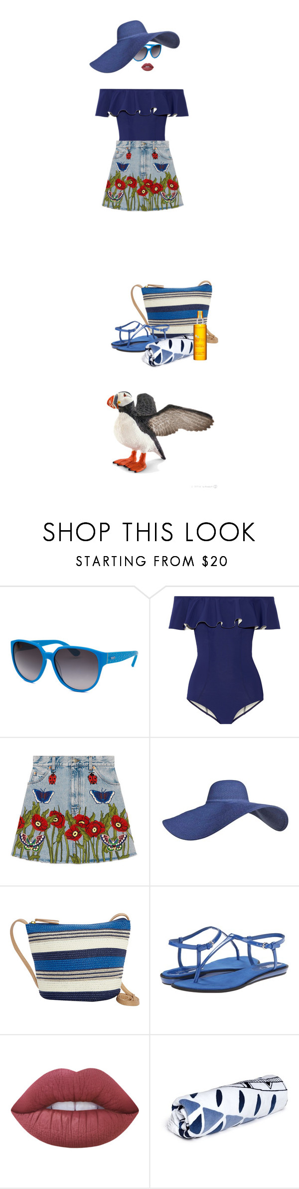 """She said she was off to visit with the puffins for the day"" by fsommerv ❤ liked on Polyvore featuring Tod's, Lisa Marie Fernandez, Gucci, Sun N' Sand, Nine West, Lime Crime, The Beach People and Clarins"