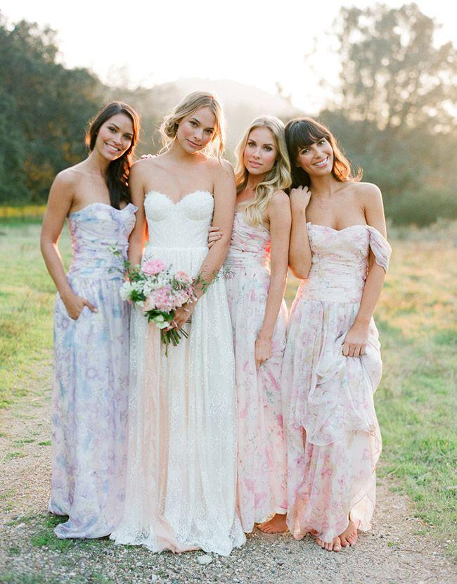 Vintage Floral Print Bridesmaids Dresses