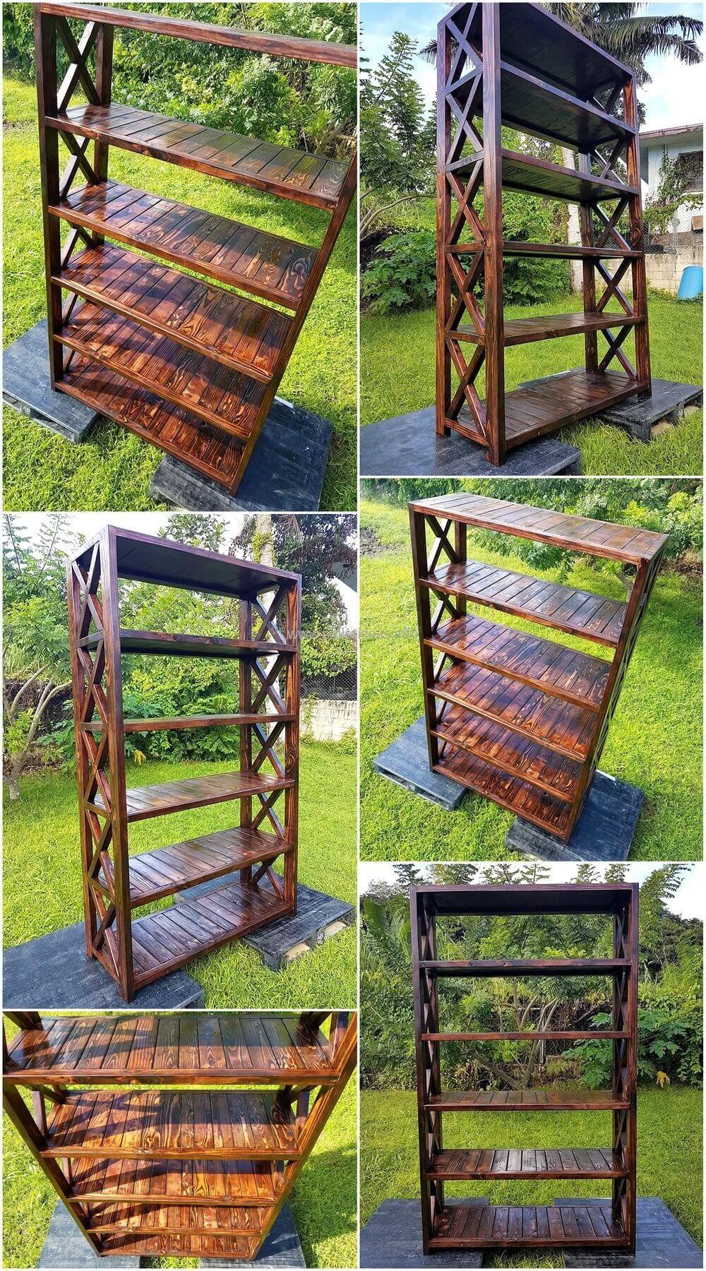 Wooden pallets heavy duty bookshelf