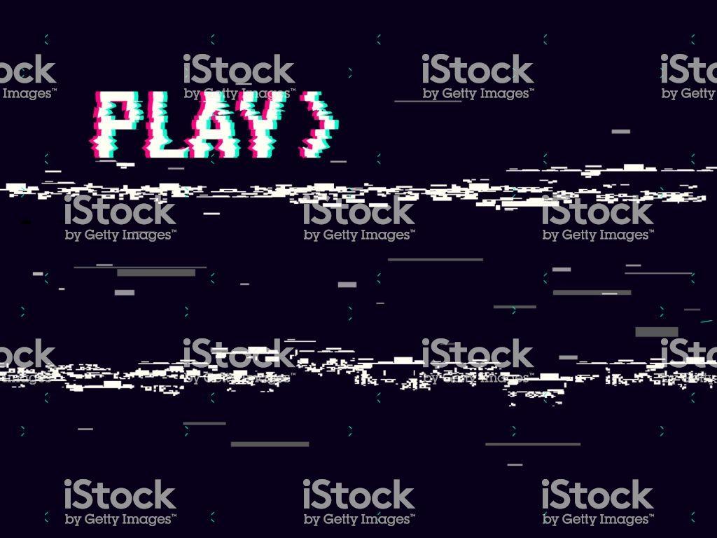 Vhs Glitch Play Effect Background Retro Playback Concept 8 Bit Vhs Glitch 8 Bit Free Vector Art