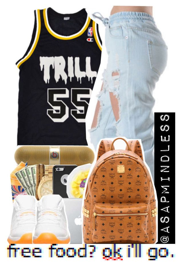 """""""7 : 48 """" by asapmindless ❤ liked on Polyvore featuring Champion, Beats by Dr. Dre and MCM"""