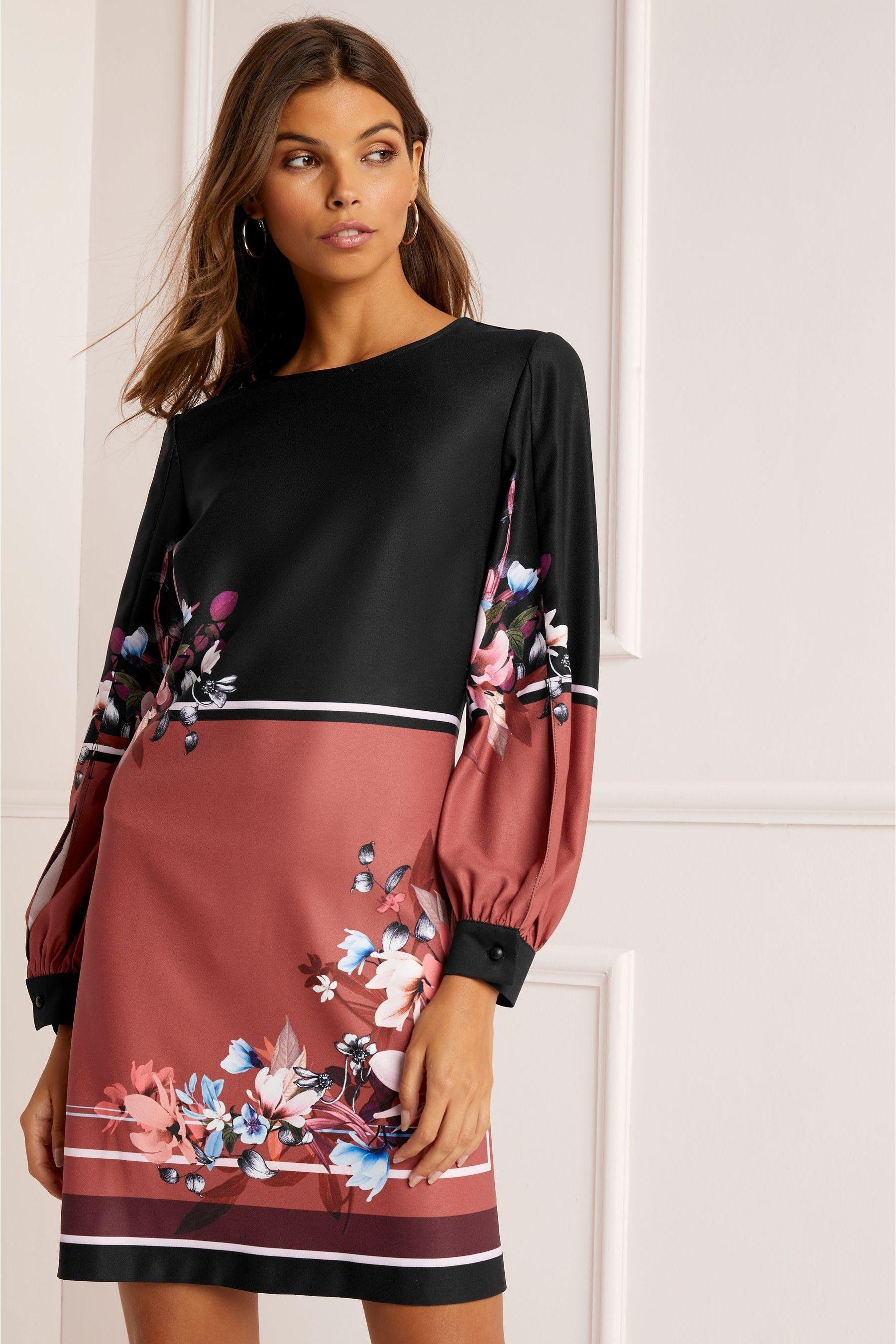 Womens Lipsy Kia Border Print Shift Dress Black Long Sleeve Shift Dress Clothes For Women Shift Dress [ 2700 x 1800 Pixel ]