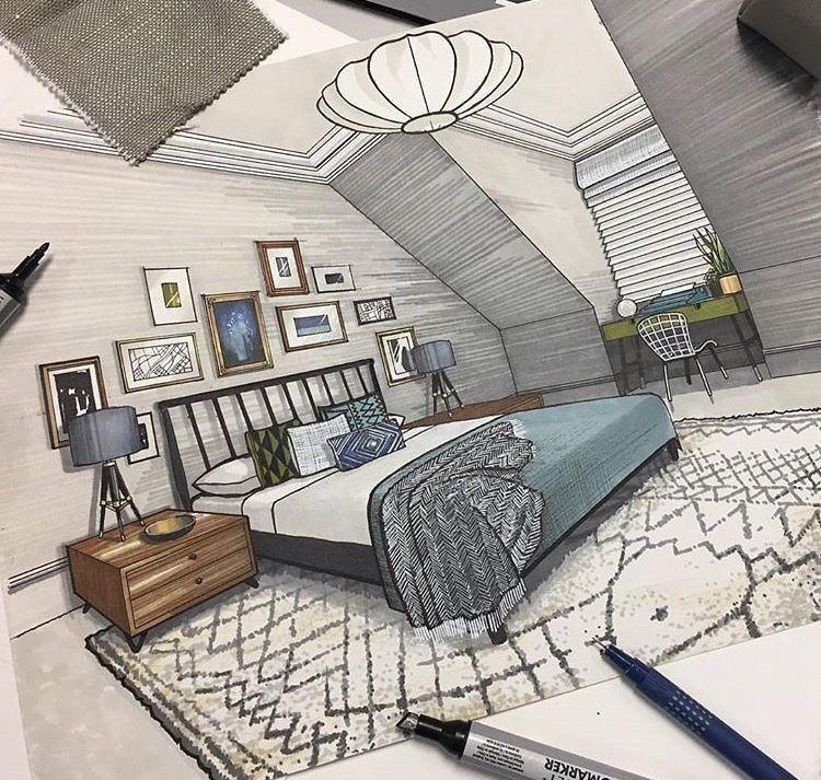 Interior Design Sketches Interior Rendering Interior Design