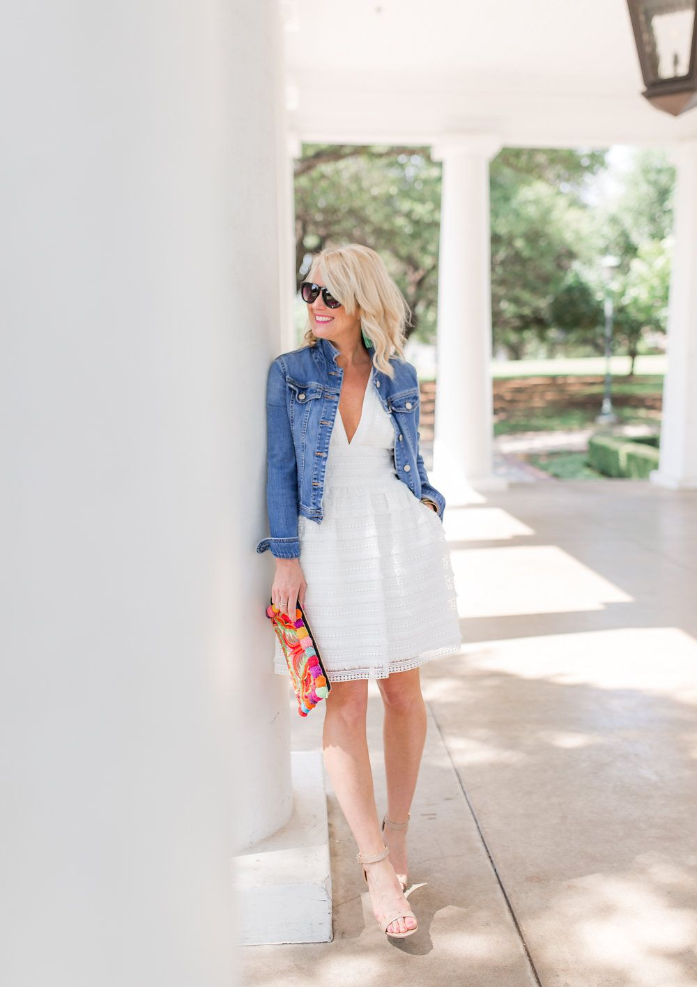 Jean Jacket White Dress Hi Sugarplum Dress With Jean Jacket Summer Fashion Casual Dress Outfits [ 1416 x 1000 Pixel ]