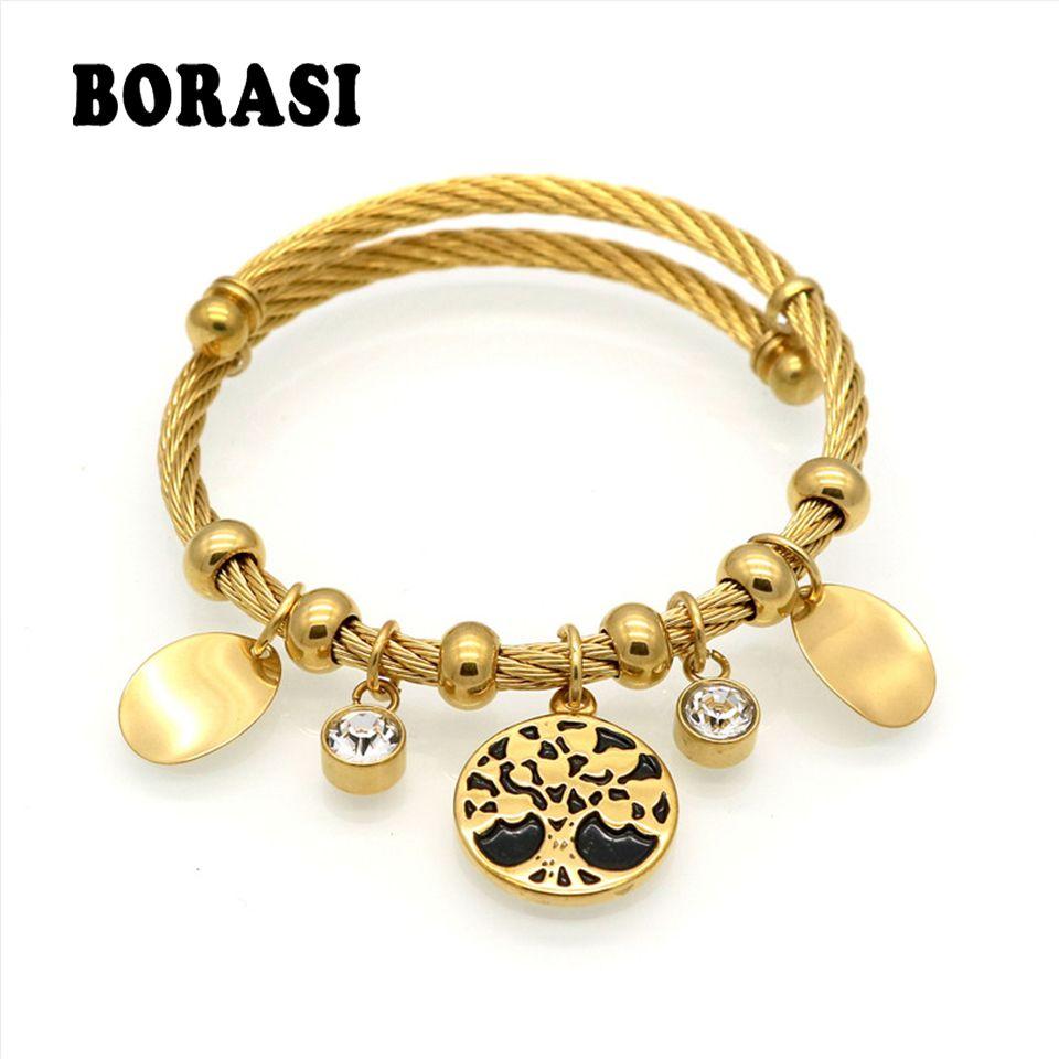 Life tree bracelet charm tree resin cabochon crystal bracelet gold