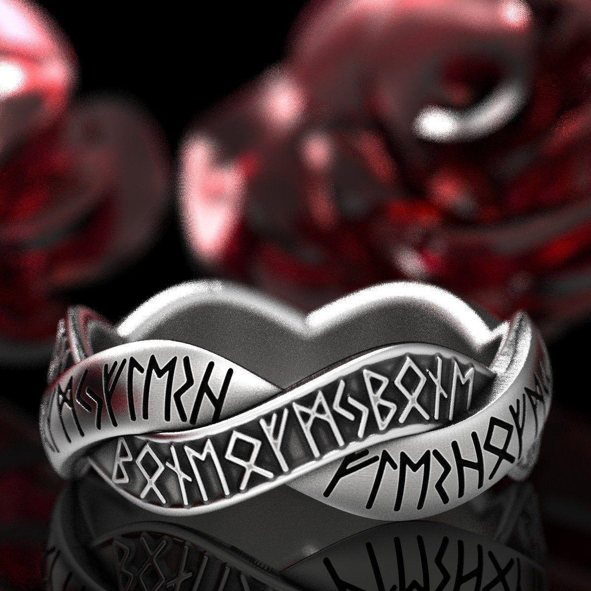 Sterling Silver Nordic Rune Ring, Rune Wedding Band