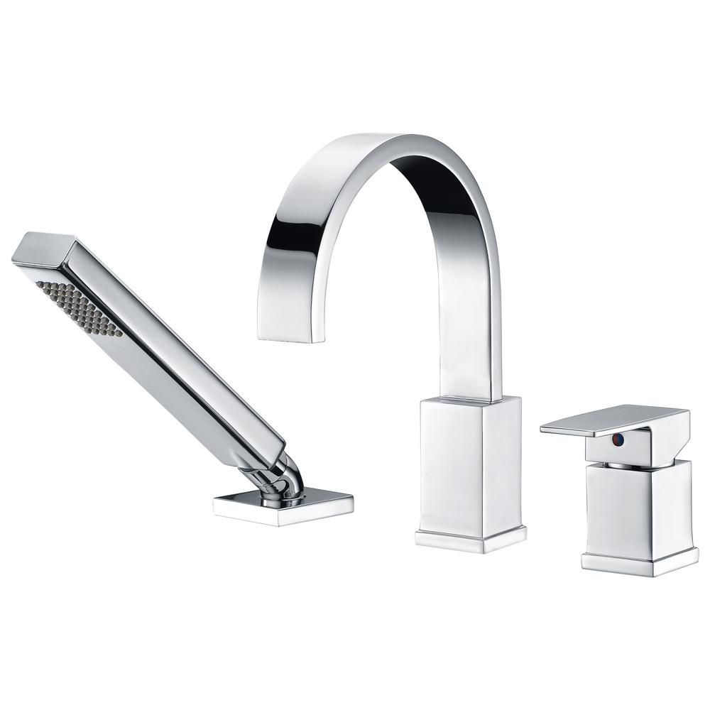 Anzzi Nite Series Single Handle Deck Mount Roman Tub Faucet With Handheld Sprayer In Polished Chrome Fr Az473 The Home Depot Roman Tub Faucets Tub Faucet Faucet Deck mount bath tub faucets