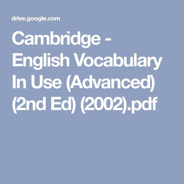 cambridge english vocabulary in use advanced pdf
