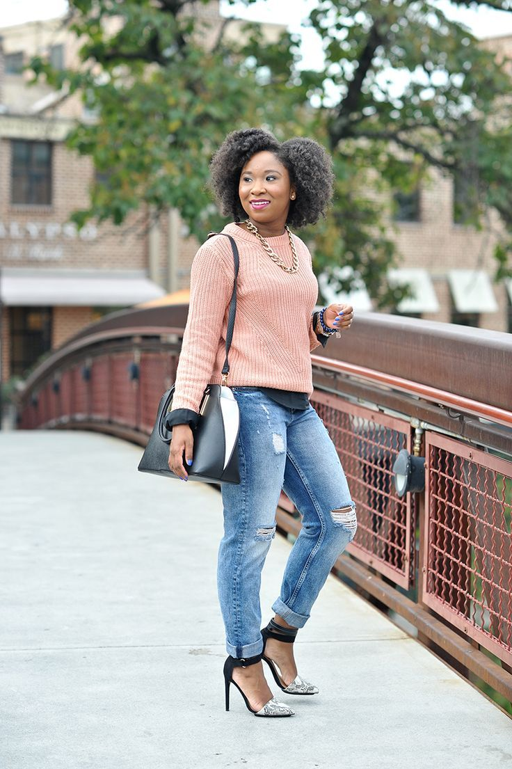 Peach Sweater and Boyfriend Jeans: This is a great fall outfit that is casual for a weekend look.