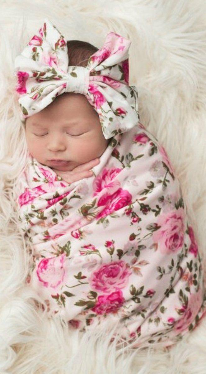 Floral Swaddle Blanket & Headband Set