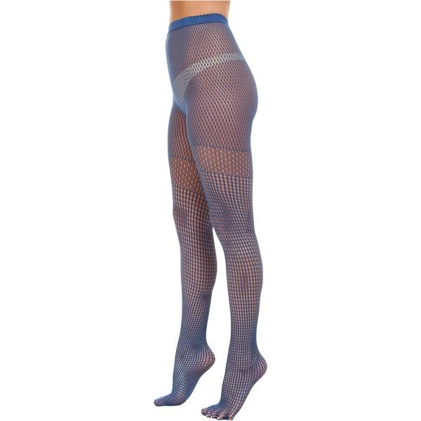 Wolford Bastille Tights Hose, Blue ($25) ❤ liked on Polyvore featuring intimates, hosiery, tights, blue, wolford stockings, blue tights, wolford, blue stockings and wolford tights