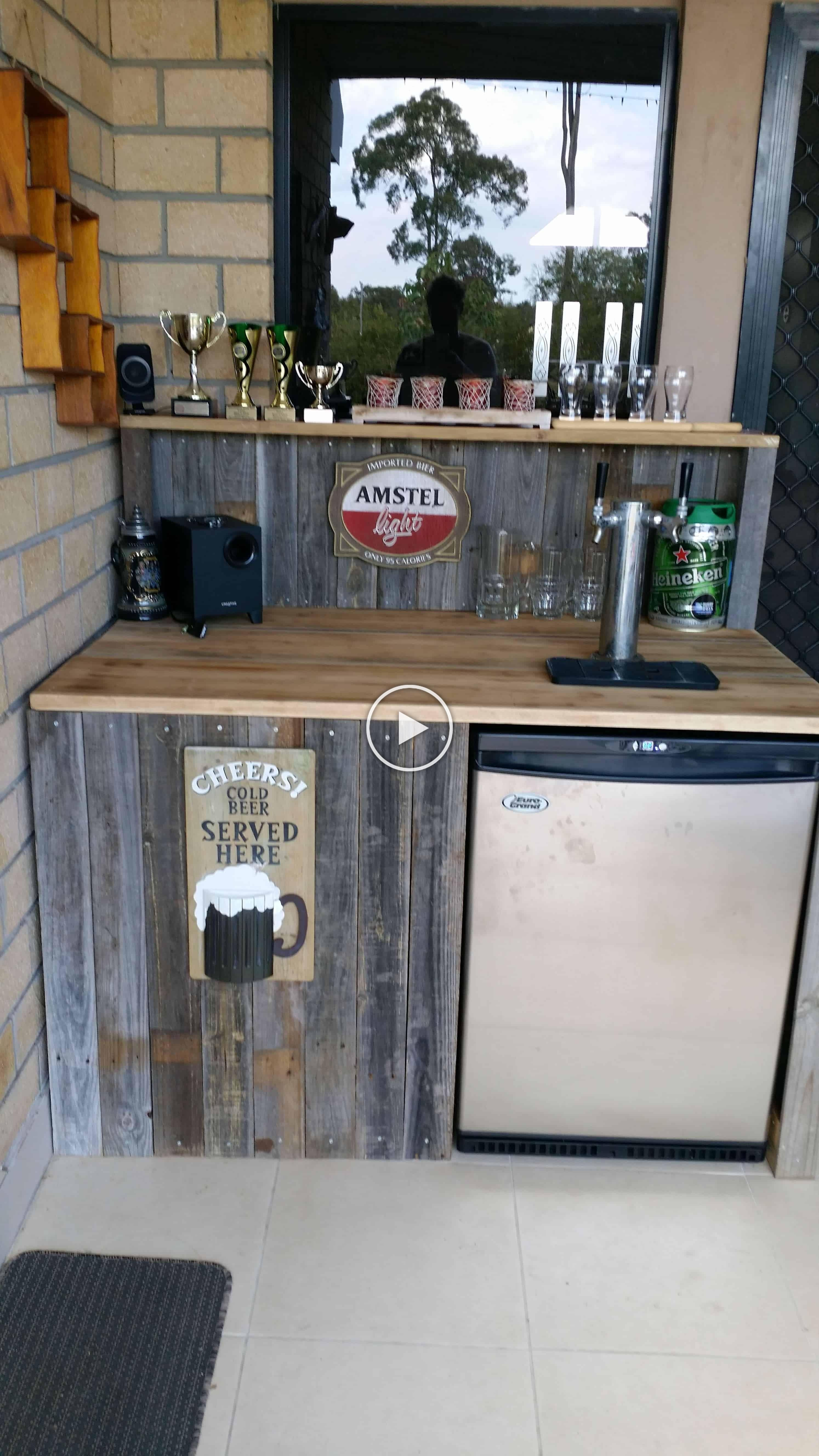 Homemade reclaimed timber bar made entirely of reclaimed timber and cost 0 to build