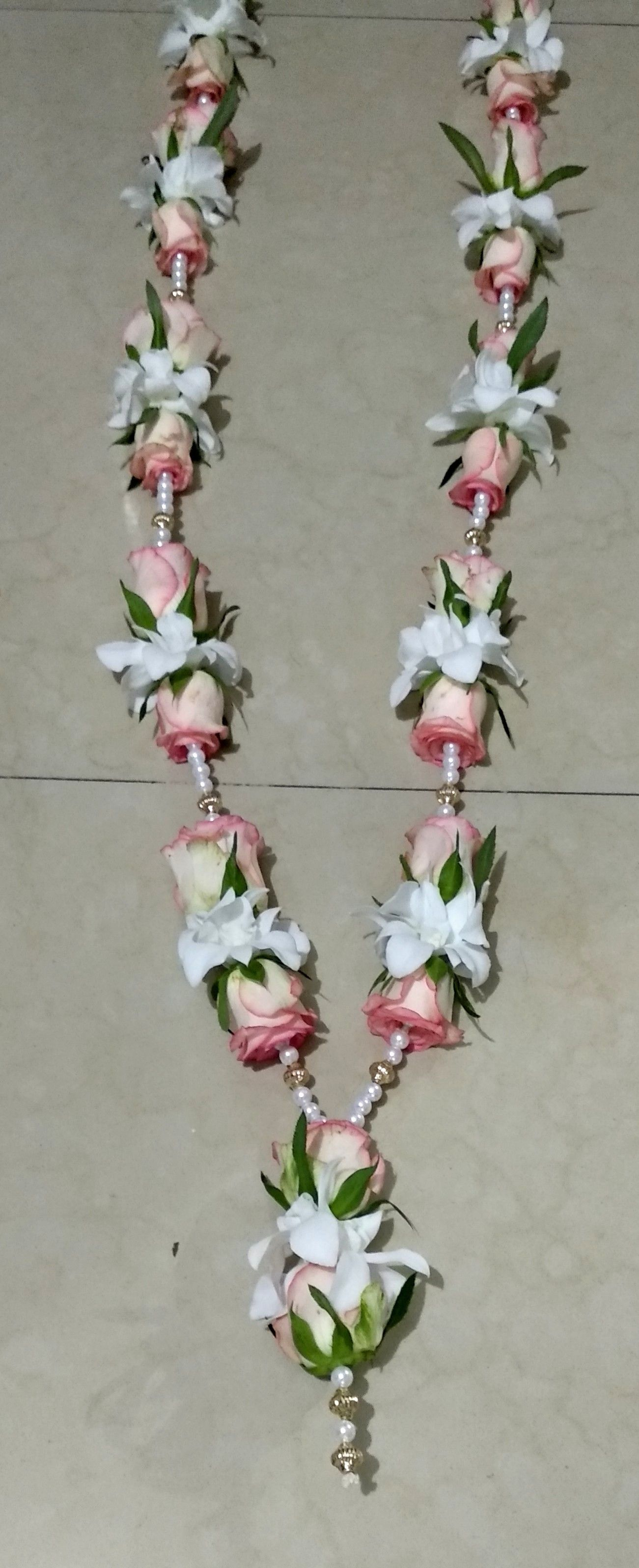 White Orchids Flowers Pink Roses Garland Orchid Flower White Orchids Pink Roses