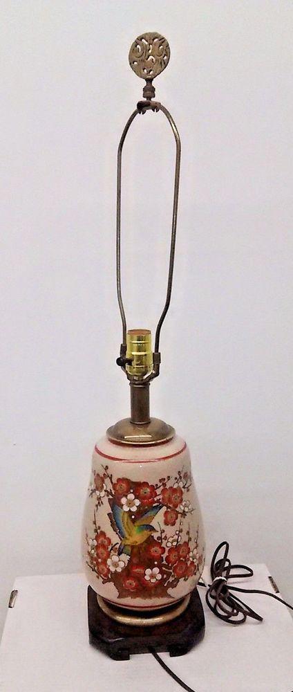 vtg frederick cooper chicago table lamp hand painted crackle ginger jar asian - Ginger Jar Lamps