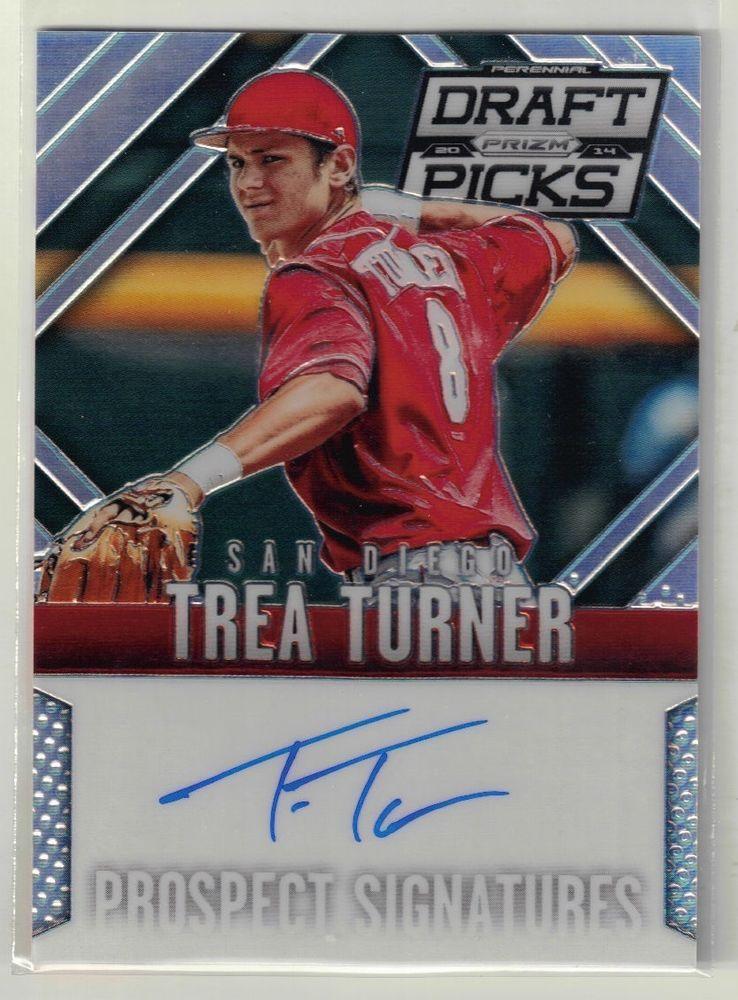 2014 prizm draft baseball trea turner on card autograph