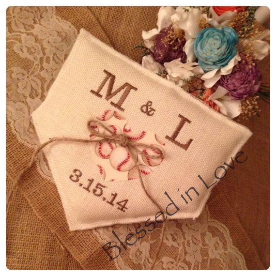 baseball softball personalized baseball Wedding ring bearer pillow Wedding Ring Pillow baseball themed Burlap Baseball wedding