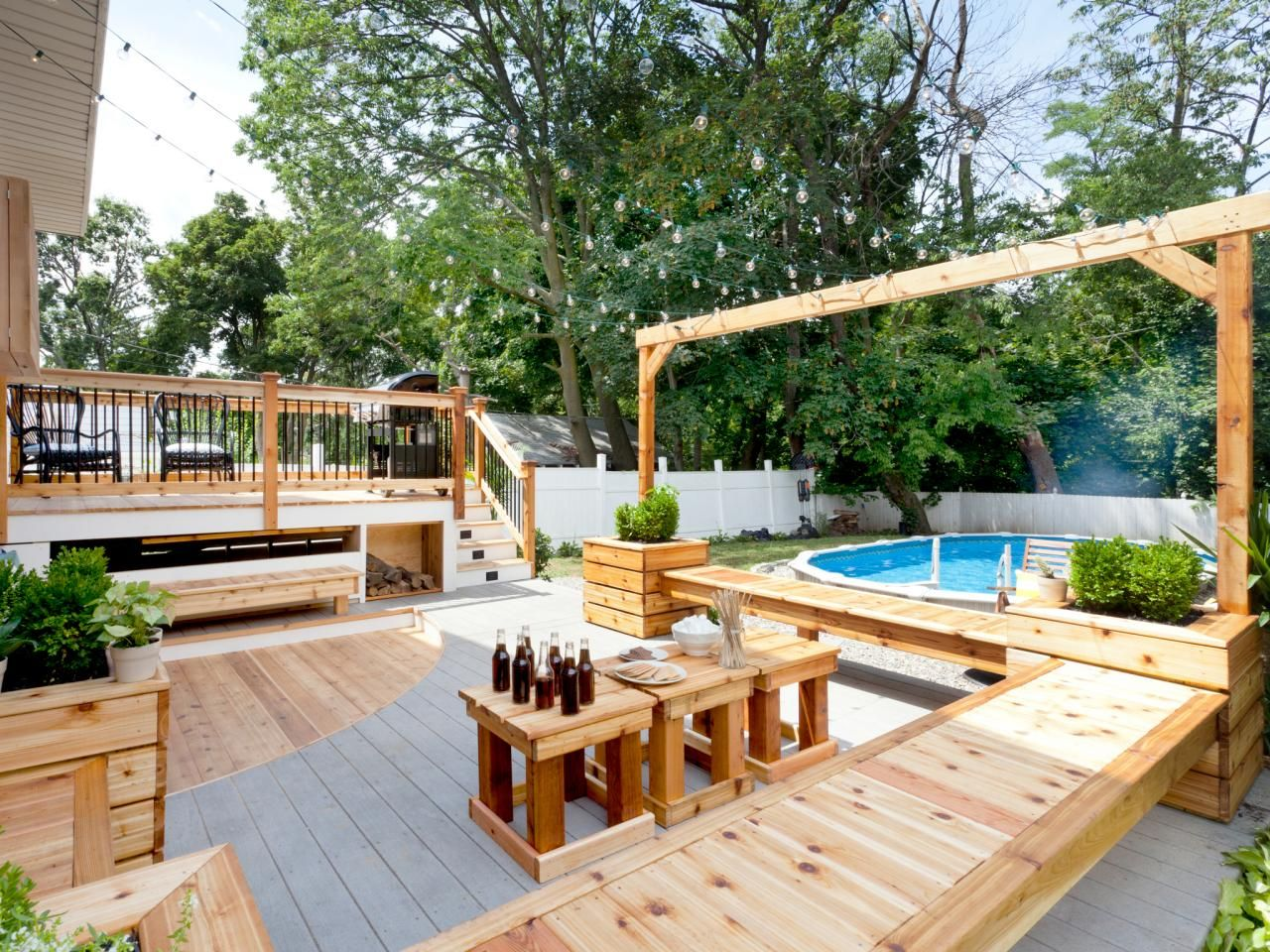 Built In Pine Benches Provide Ample Seating On The Back