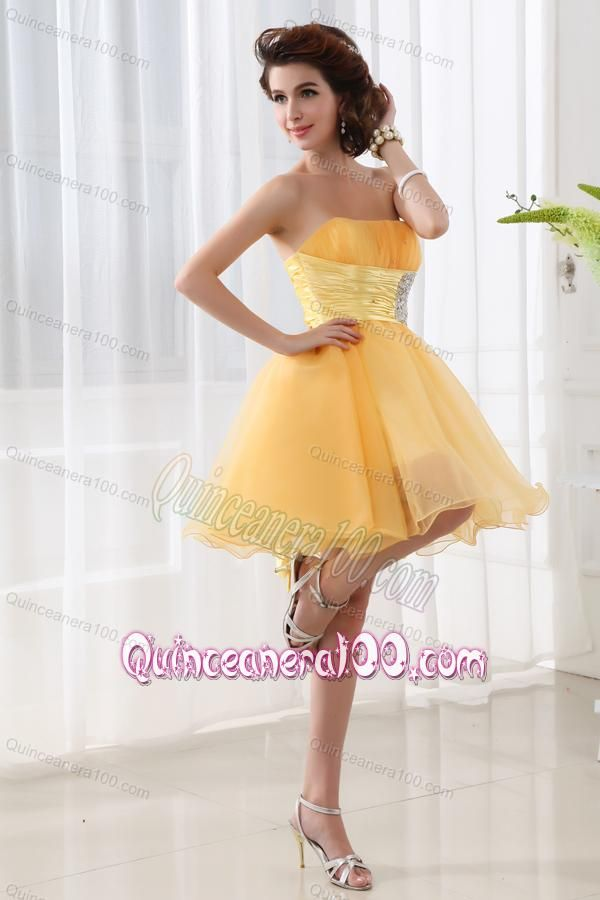 A Line Strapless Organza Gold Mini Length Dama Dress For