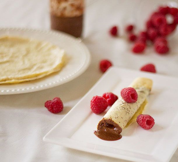 Crepes stuffed with raw cacao and roasted hazelnut butter finished with refreshing raspberries.