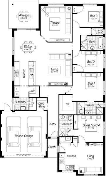Best Family Home Floor Plans Perth The Acton My House Plans House Floor Plans 4 Bedroom House Plans