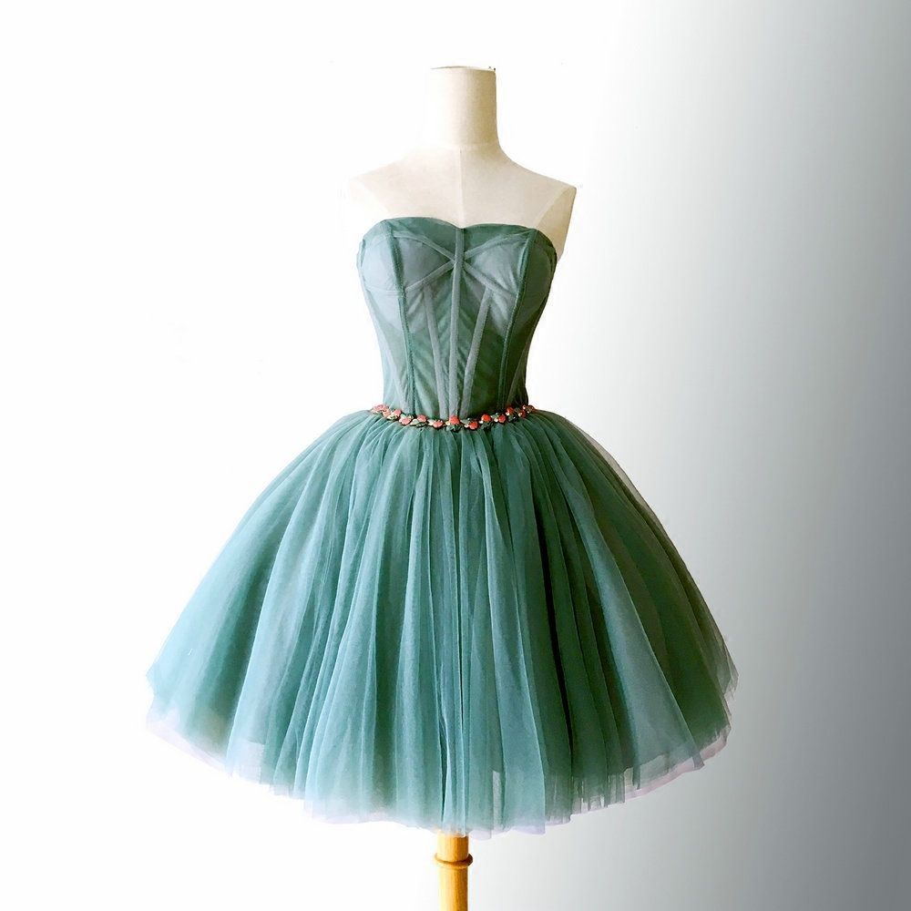 Beautiful dark green tulle sweetheart short homecoming dress hunter