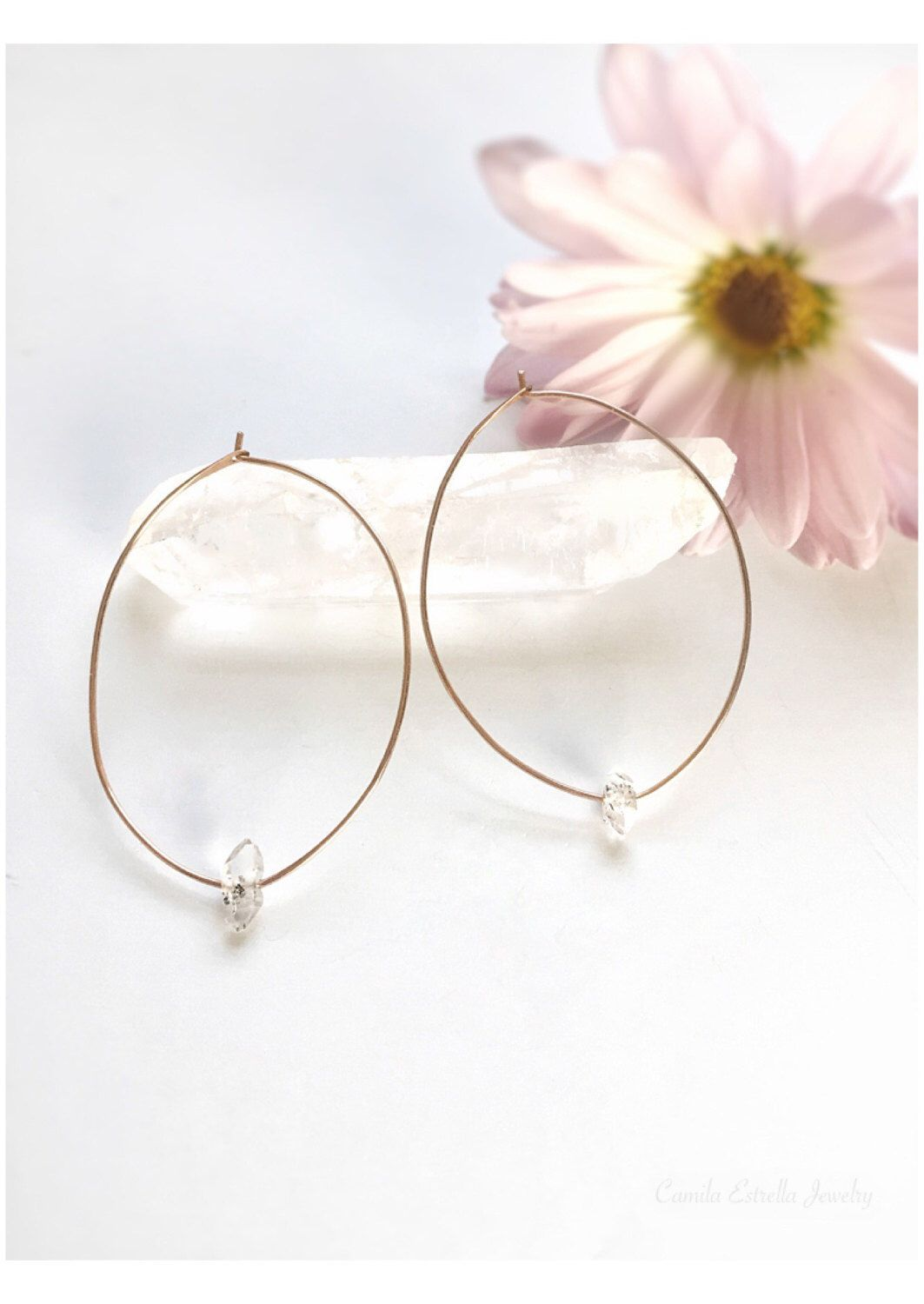A personal favorite from my Etsy shop https://www.etsy.com/listing/501797360/herkimer-hoop-earrings-rose-gold