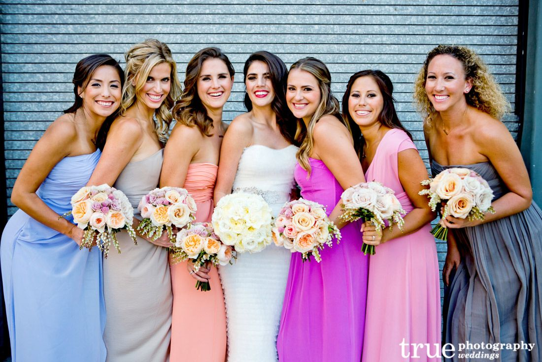Mix-matched and multi-colored bridesmaid dresses | From Our Blog ...