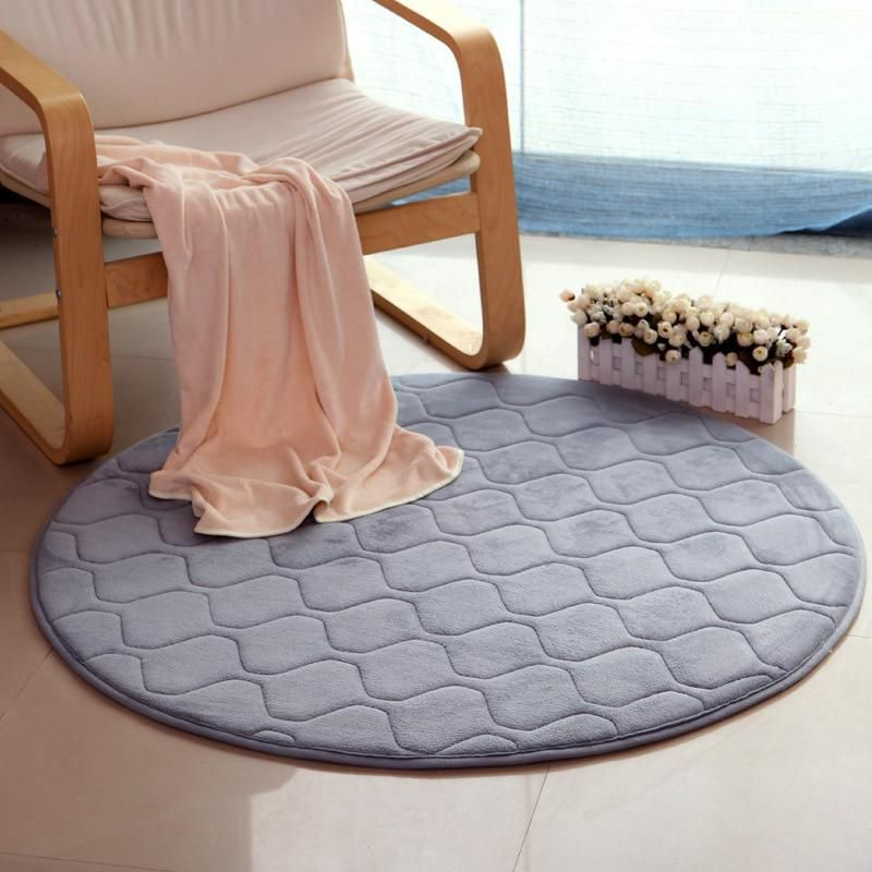 Solid Color Round Rug Carpets For Living Room Home Decor Non Slip
