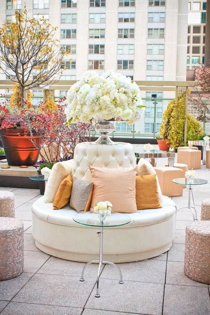 Modern rooftop wedding idea in gold and rose gold. Event Design: Kehoe Designs via Strictly Weddings