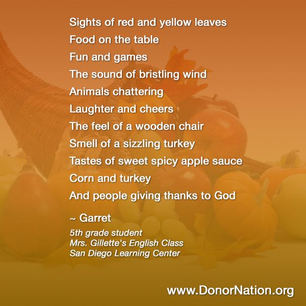 Are you as talented as this 5th Grader?! #Thanksgiving #Poem ...