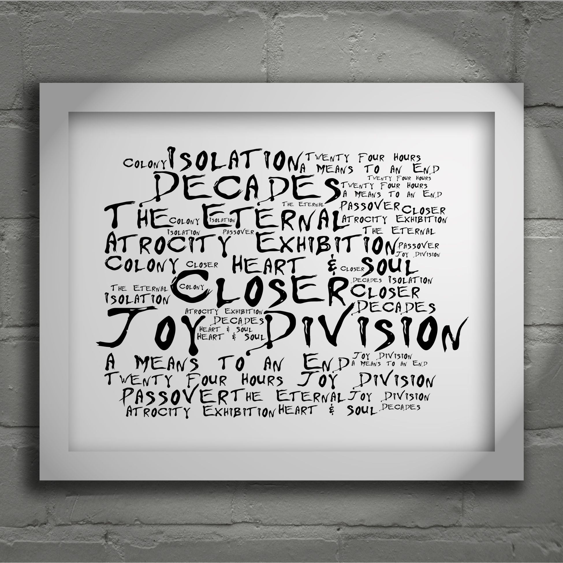 Joy Division Closer Noir Paranoiac Limited Edition Typography