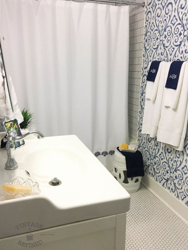 Blue And White Bathroom Thibaut Wallpaper