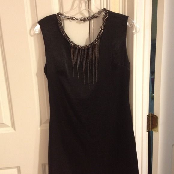 Chain detail sleeveless black satiny dress Sexy black chain dress with cowl back, perfect, only worn once! Fits more like a junior size shulami Dresses