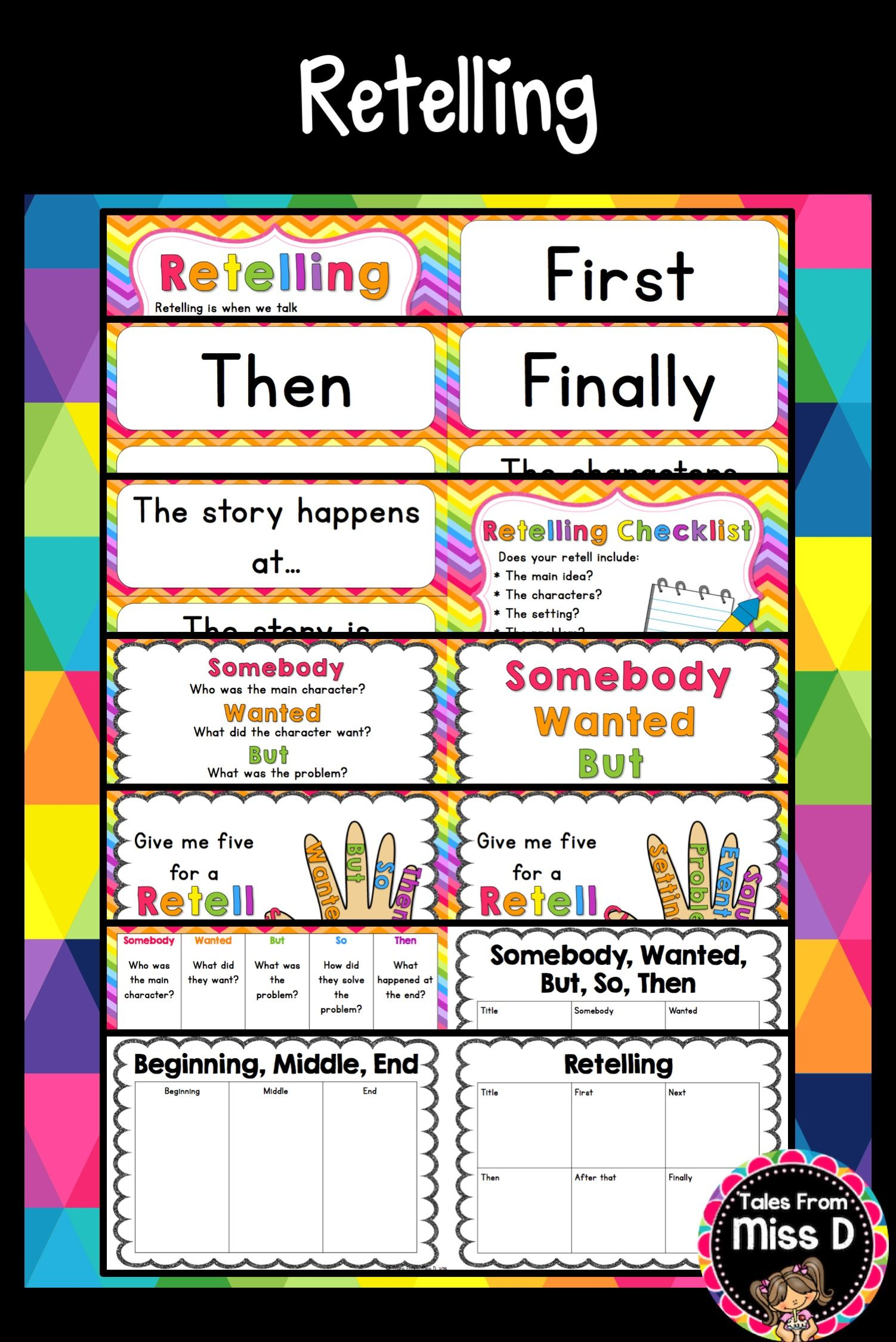 This pack contains assorted resources to use for Retelling. Included in this pack; * What is Retelling? * Prompt cards * Retelling Checklist * Somebody, Wanted, But, So, Then * Give me Five (2 versions; elements and somebody wanted but so then) * Retelling Strips (2 versions; elements and somebody wanted but so then) * 3 graphic organisers © Tales From Miss D