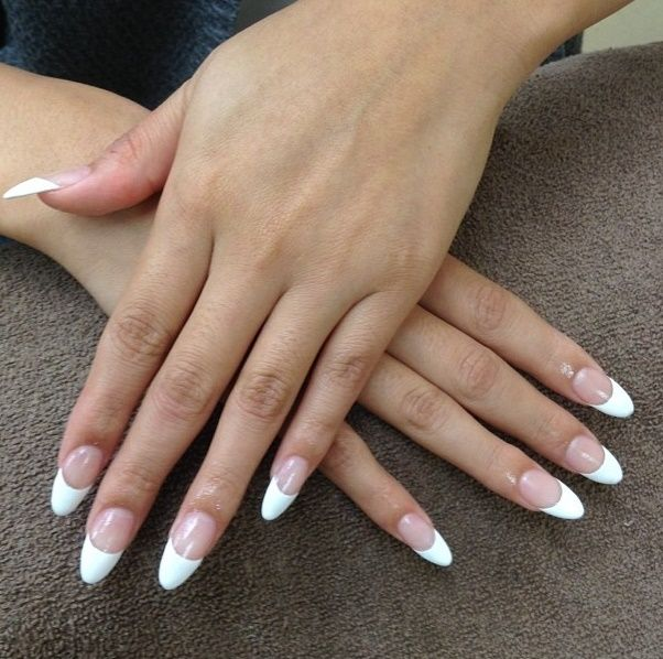 French Manicure On Oval Nails With Images Oval Nails Acrylic