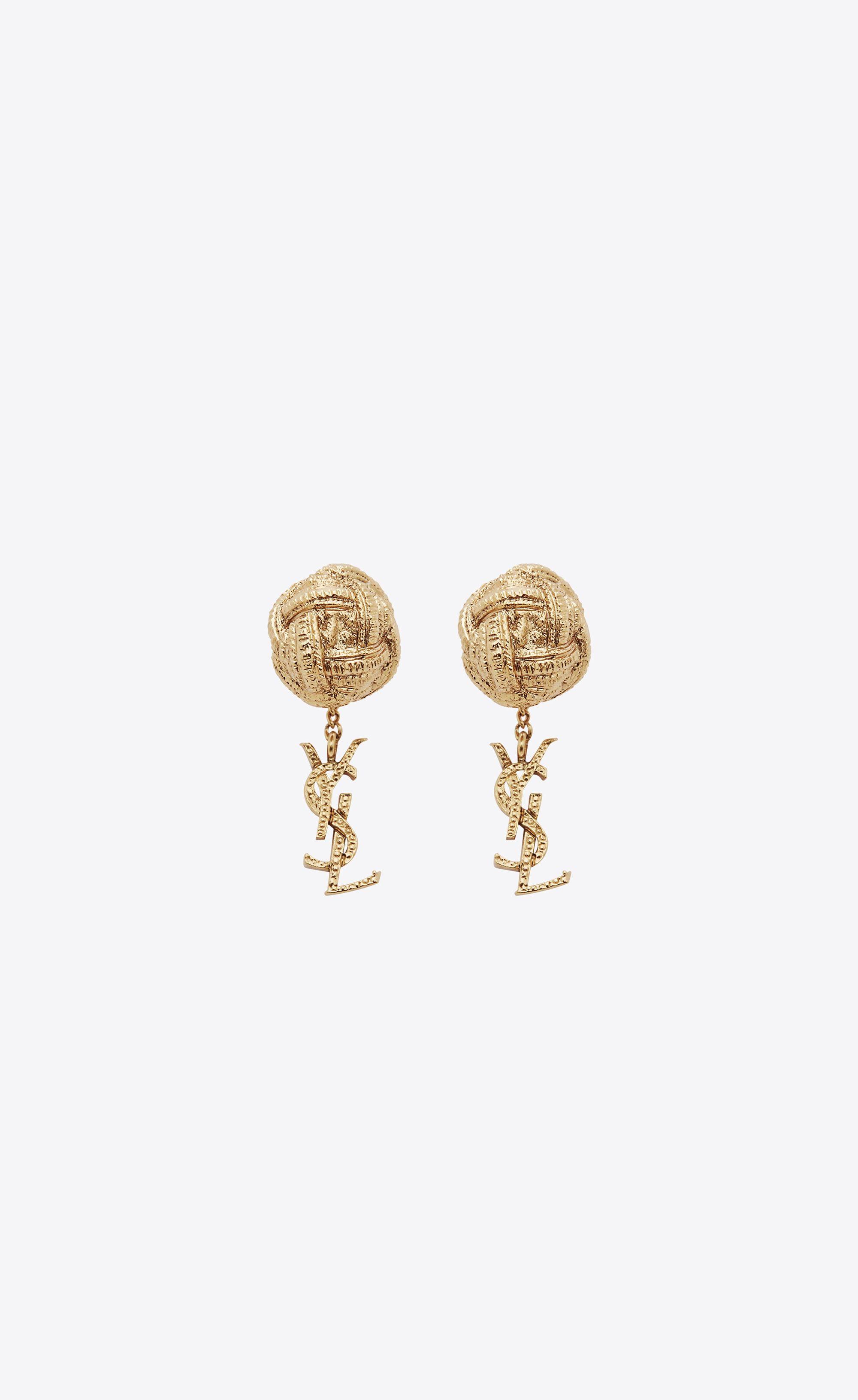 99ab7f961e Saint Laurent Monogram Brandebourg Earrings In Gold Brass | YSL.com ...