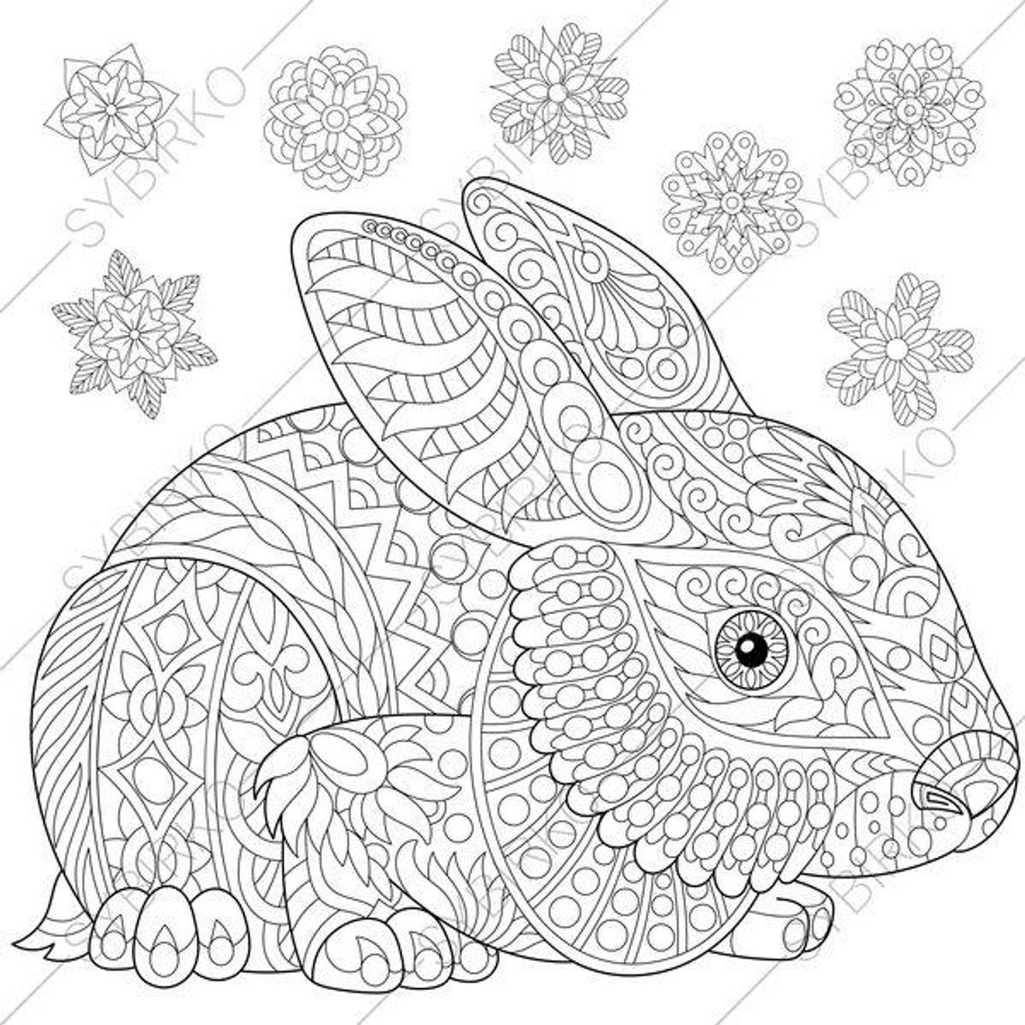 Easter Bunny Rabbit Hare 3 Coloring Pages Animal Coloring