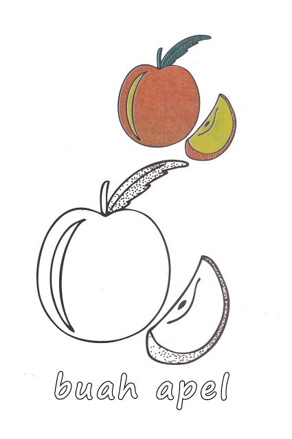 Aneka Gambar Mewarnai Gambar Mewarnai Buah Apel Dan Mangga Untuk