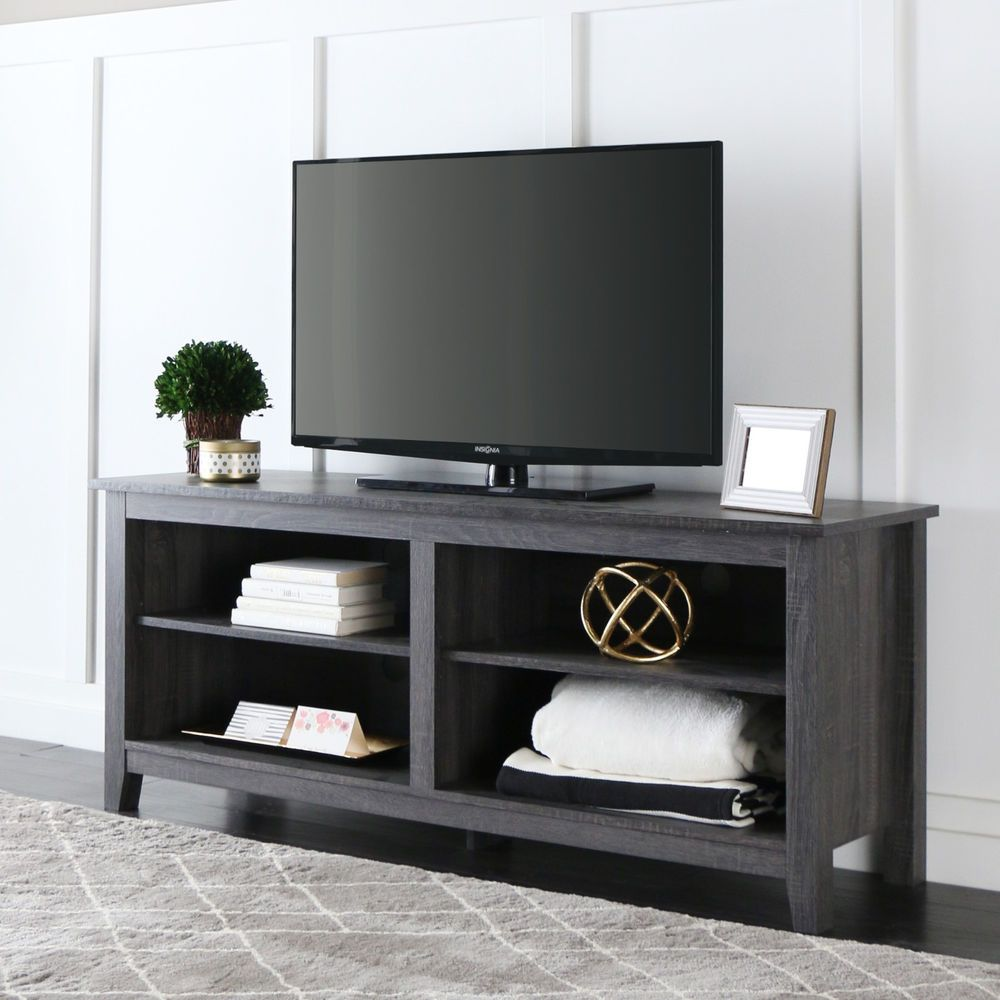 """TV Stand Console Entertainment Media Center 4 Open Storage Shelves 60"""" Charcoal #WEF #Contemporary"""